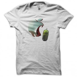 tee shirt apple eating android white