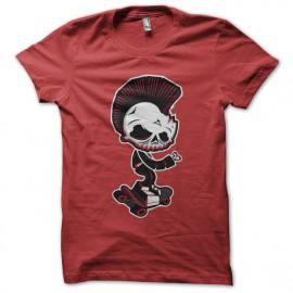 tee shirt Skater skull red