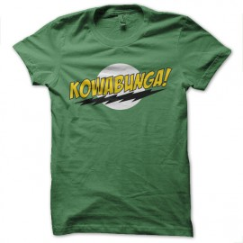 tee shirt kowabunga parodie bazinga vert