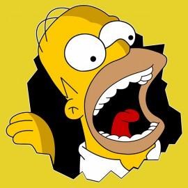 tee shirt Homer Simpson yellow