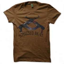 tee shirt crossed ak 47 marron