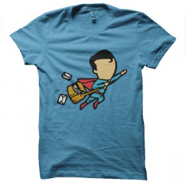 tee shirt job special superman bleu ciel