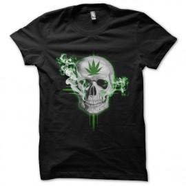 tee shirt marijuana skull noir