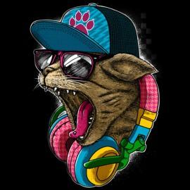 tee shirt cat hiphop design noir