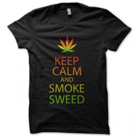 tee shirt keep calm and smoke sweed noir