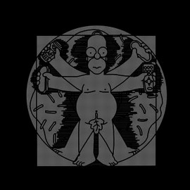 tee shirt hombre de vitruvio homer simpson noir