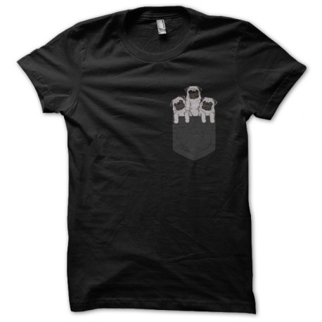 tee shirt pocket pug noir