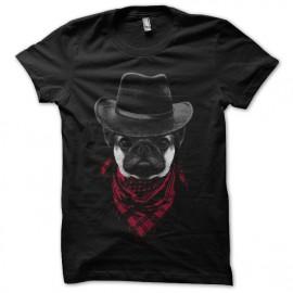 tee shirt Cowboy Pug noir