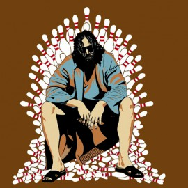 tee shirt The Big Lebowski Game of Thrones marron