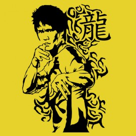 tee shirt bruce lee  jaune