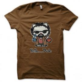 tee shirt hello dude marron