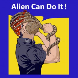 tee shirt alien can do it bleu