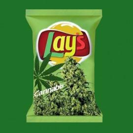 tee shirt Lay's cannabis vert