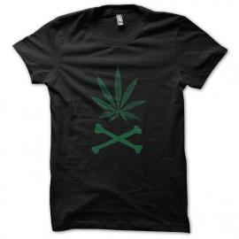 tee shirt weed skull noir
