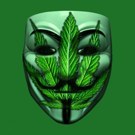 tee shirt anonymous weed mask vert
