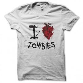 tee shirt I love zombie blanc