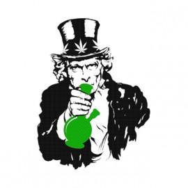 tee shirt uncle sam smoke weed blanc