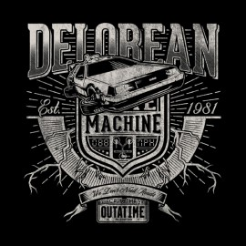 tee shirt delorean machine noir