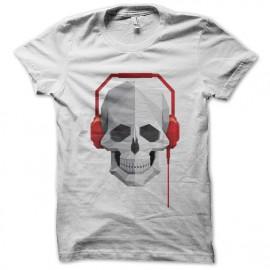 tee shirt music skull blanc
