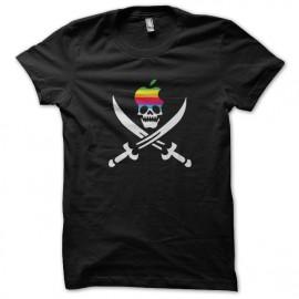 tee shirt Apple skull logo noir