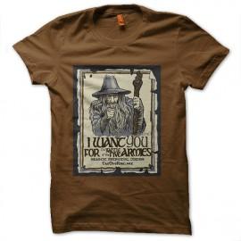 tee shirt gandalf we want you marron