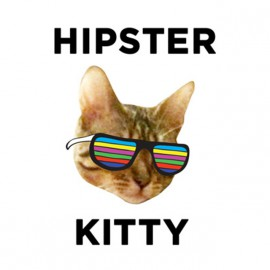 tee shirt hipster kitty blanc