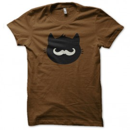 tee shirt chat hipster moustache marron