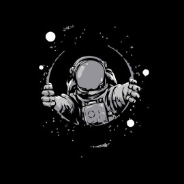 tee shirt astronaute galaxies noir