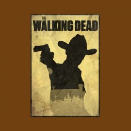 tee shirt walking dead rick poster marron