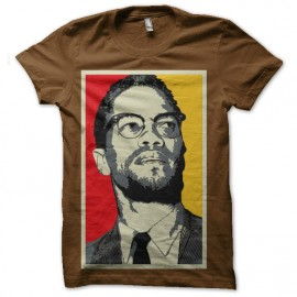 tee shirt malcolm x large marron