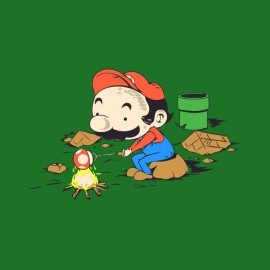 tee shirt mario fait du camping