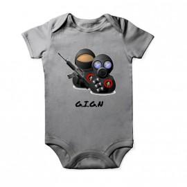 Grenouillère GIGN pour enfant Baby Gris Chiné Courtes